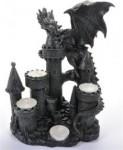 Drache schwarz mit drei Kerzen
